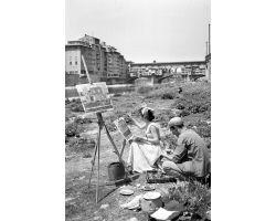 1955  pittori sull\'Arno; Ponte Vecchio