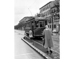 1957 01193 Foto storiche Firenze fermata  tram Ataf 8 in viale Lavagnini