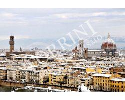254 Veduta con neve Duomo palazzo vecchio colore