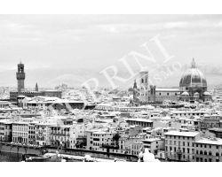 Veduta con neve Duomo palazzo vecchio bn