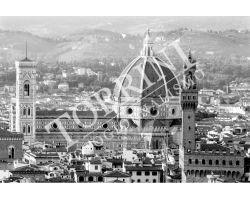 Veduta Duomo Palazzo vecchio dal Forte Belvedere bianco nero